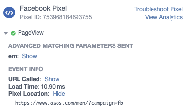 Facebook Pixel Helper - query Strings