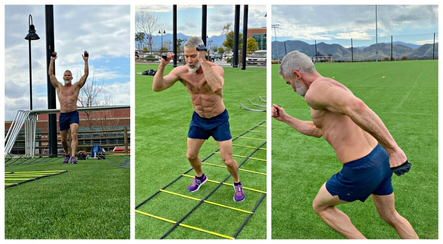 Mature athlete does leg workout outdoors.
