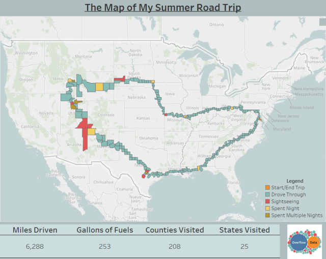 The Map Of My Summer Road Trip - Counties visited map