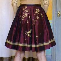 Self-drafted Embroidered Taffeta Pleated Skirt