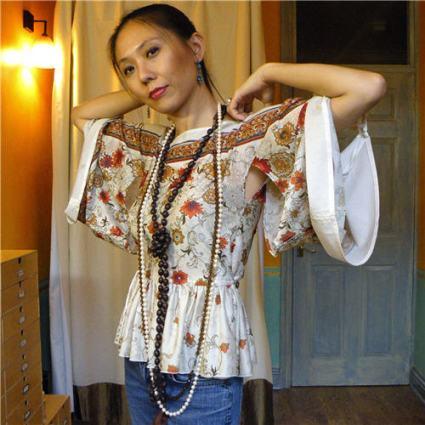 Altered RTW Print Kimono Top