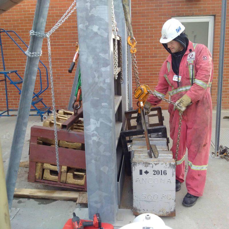 Worker using crane equipment
