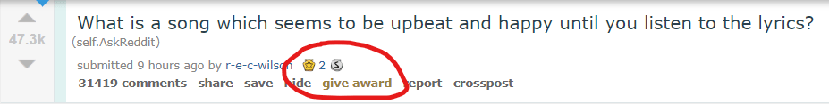 Example of Reddit coins being given to a user on a post