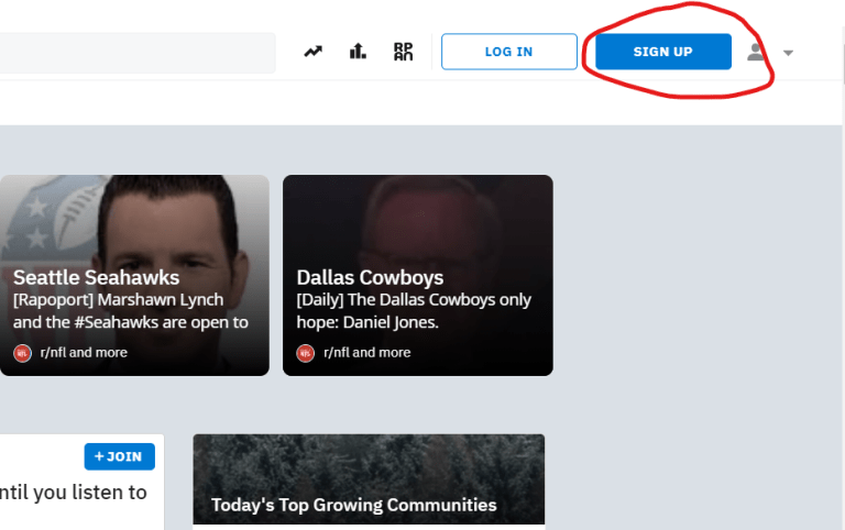 Image of the sign up button on Reddit