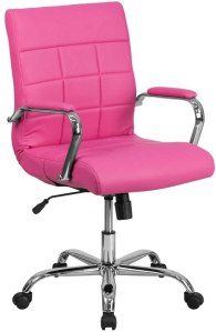 Flash furniture mid-back pink vinyl executive chair