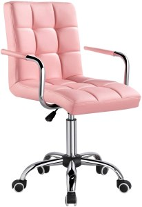 Yaheetech Desk Chairs with Wheels/Armrests Modern PU Leather Office Chair
