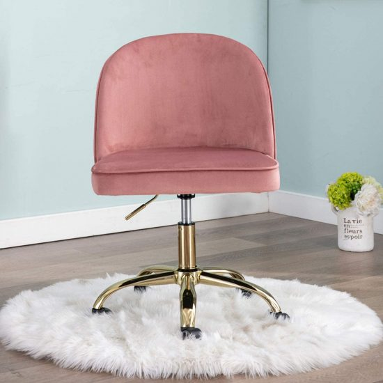Armless Task Chair with Gold Plating Base