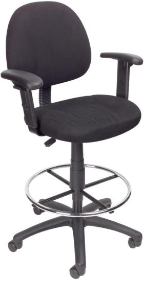 Boss Office Products Ergonomic Works Drafting Chair with Adjustable Arms
