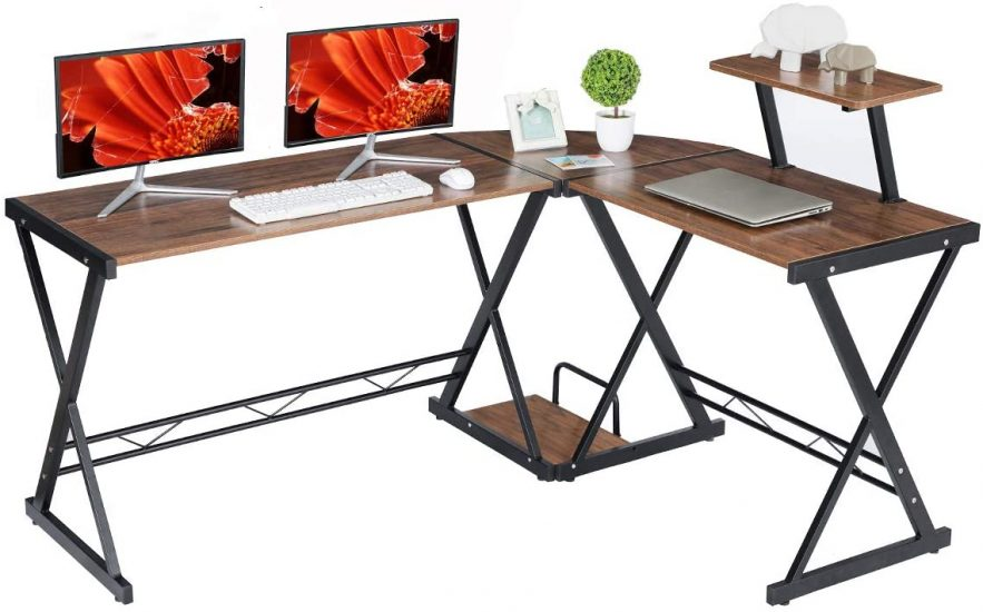 GreenForest L Shaped Desk with Moveable Shelf