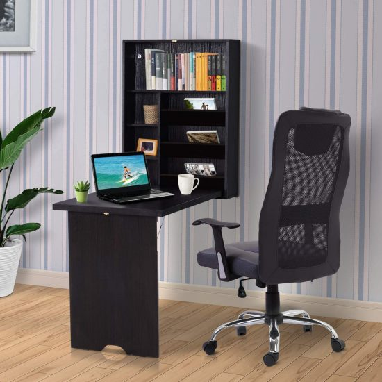 HOMCOM Compact Fold Out Wall-Mounted Desk With Storage