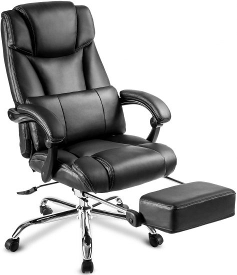 JULYFOX Reclining Desk Chair With Footrest