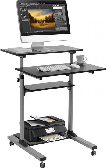 Mobile Standing Desk - TechOrbits Rolling Workstation Cart