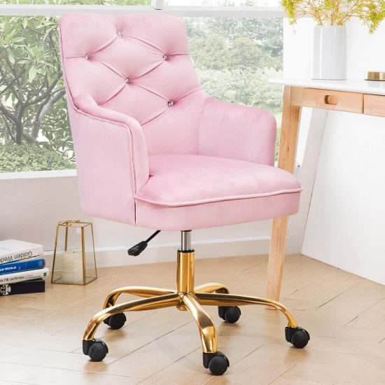 Ovios Light Pink Vanity & Task Chair With Golden Base