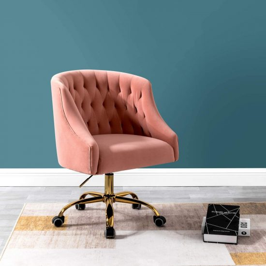 Velvet Fabric Task Chair for Home Office and Vanity