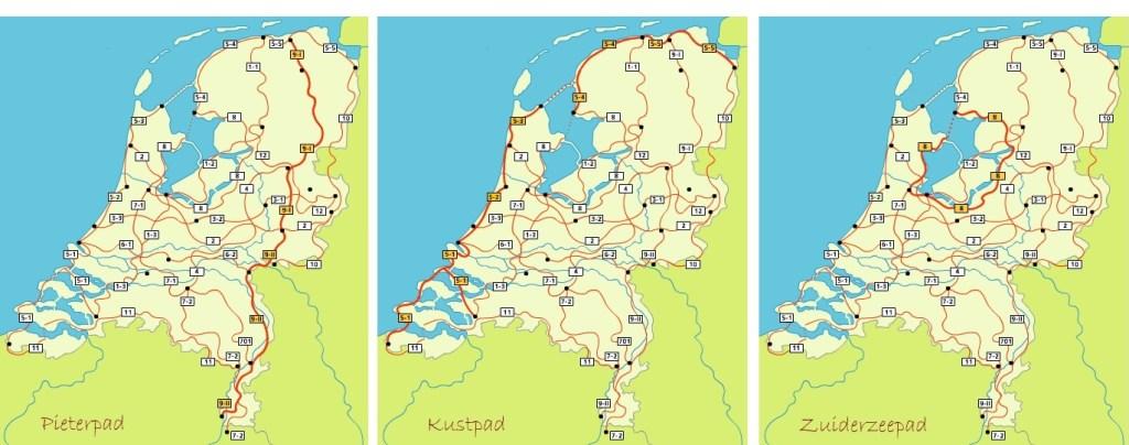 wandelpaden nederland pieterpad kustpad zuiderzeepad