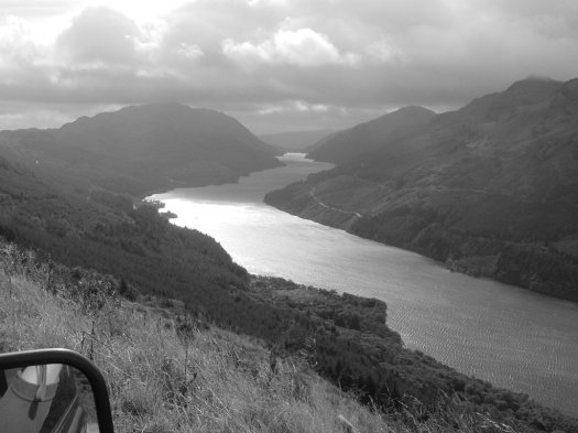 Looking out across a loch in west scotland from Landy