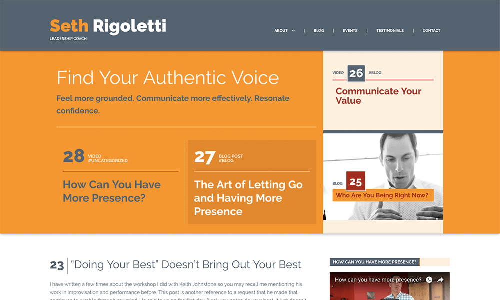 A screenshot of Seth Rigoletti's website.
