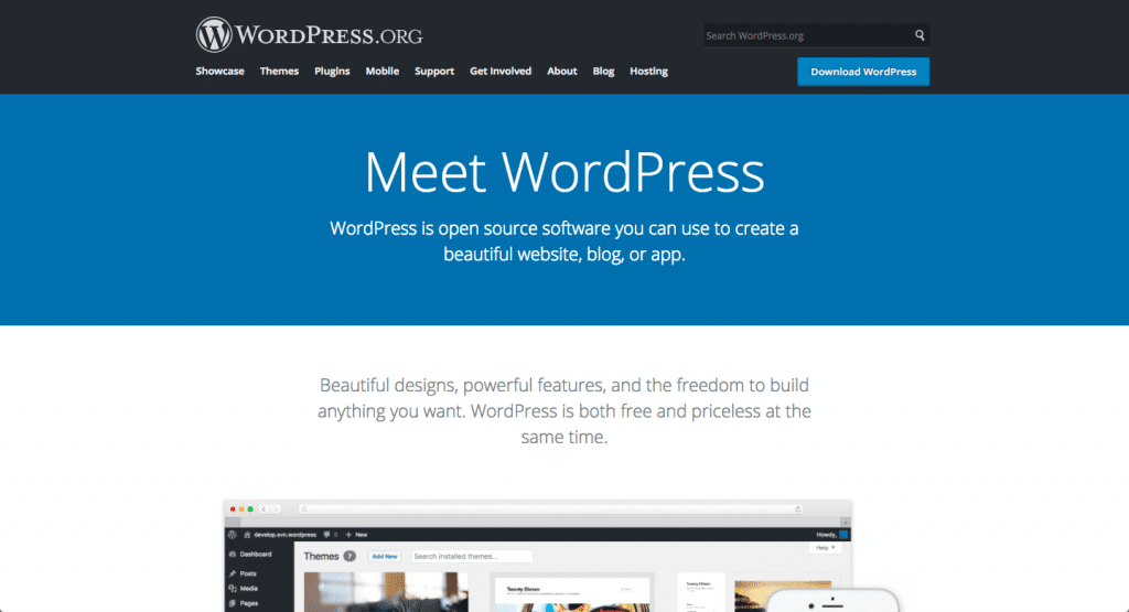 """A screenshot of the WordPress.com website. It says WP is an """"open-source software""""."""