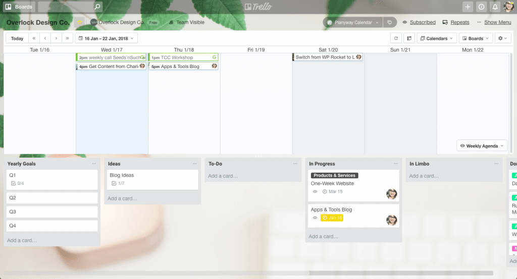 A screenshot of my admin Trello board, complete with Planyway calendar.