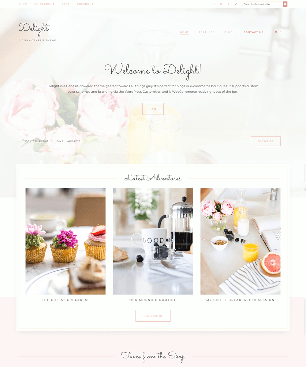 Delight supports the WordPress customizer with custom header images and colors!
