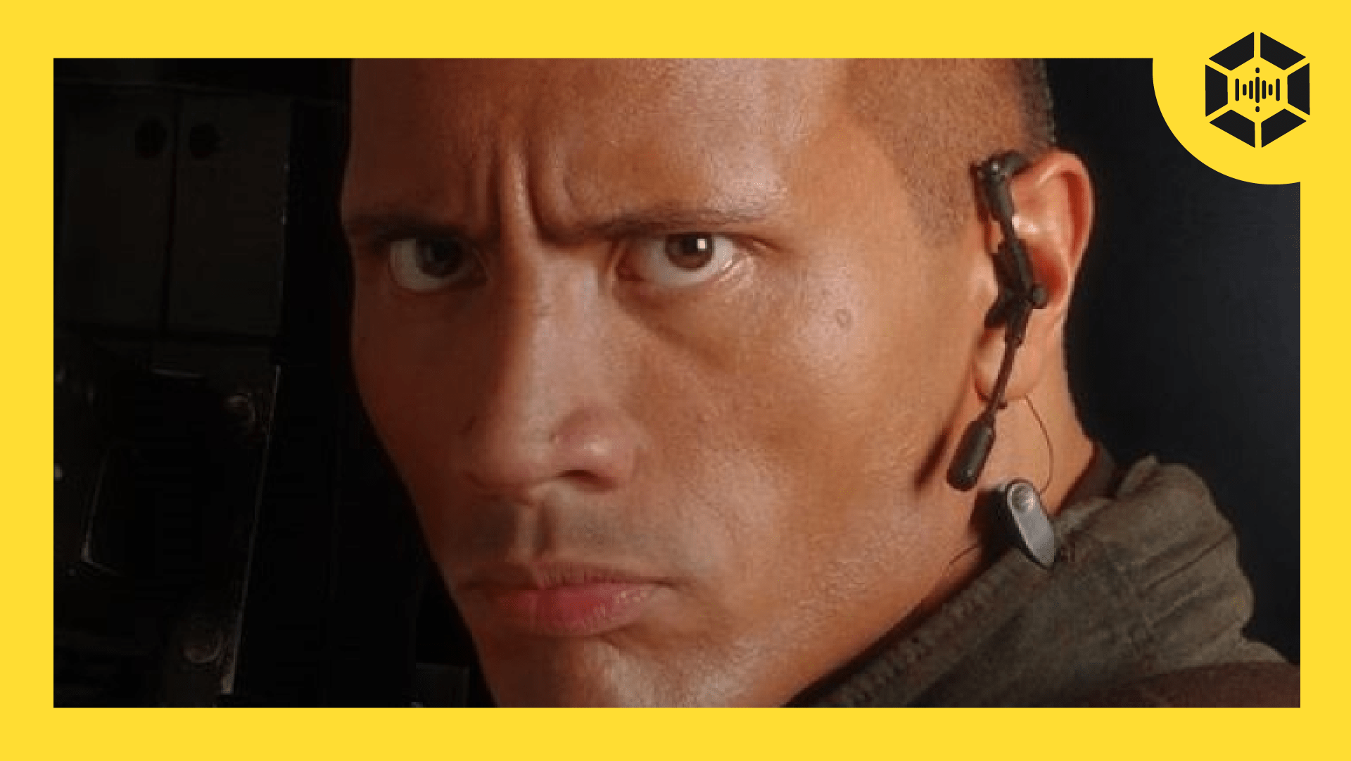Podcast thumbnail featuring Dwayne Johnson from the DOOM movie facing the camera