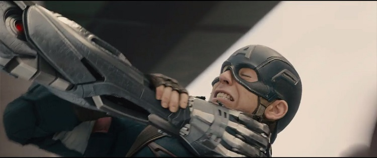 Ultron gives Captain America the best choke hold he can in The Avengers: Age of Ultron.