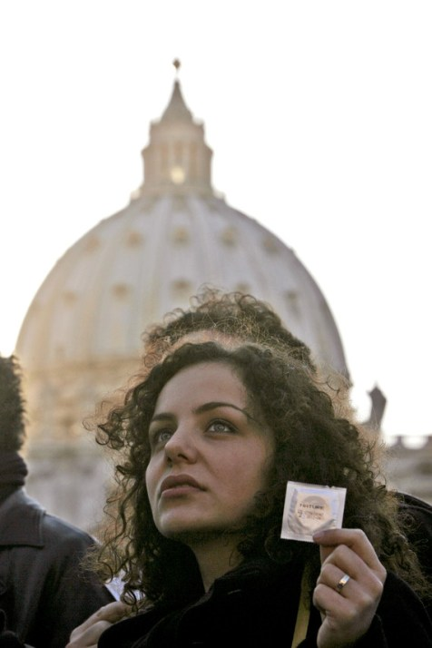 A demonstrator in St. Peter's Square during a 2009 protest over condoms. Photo Alessandra TarantinoAssociated Press