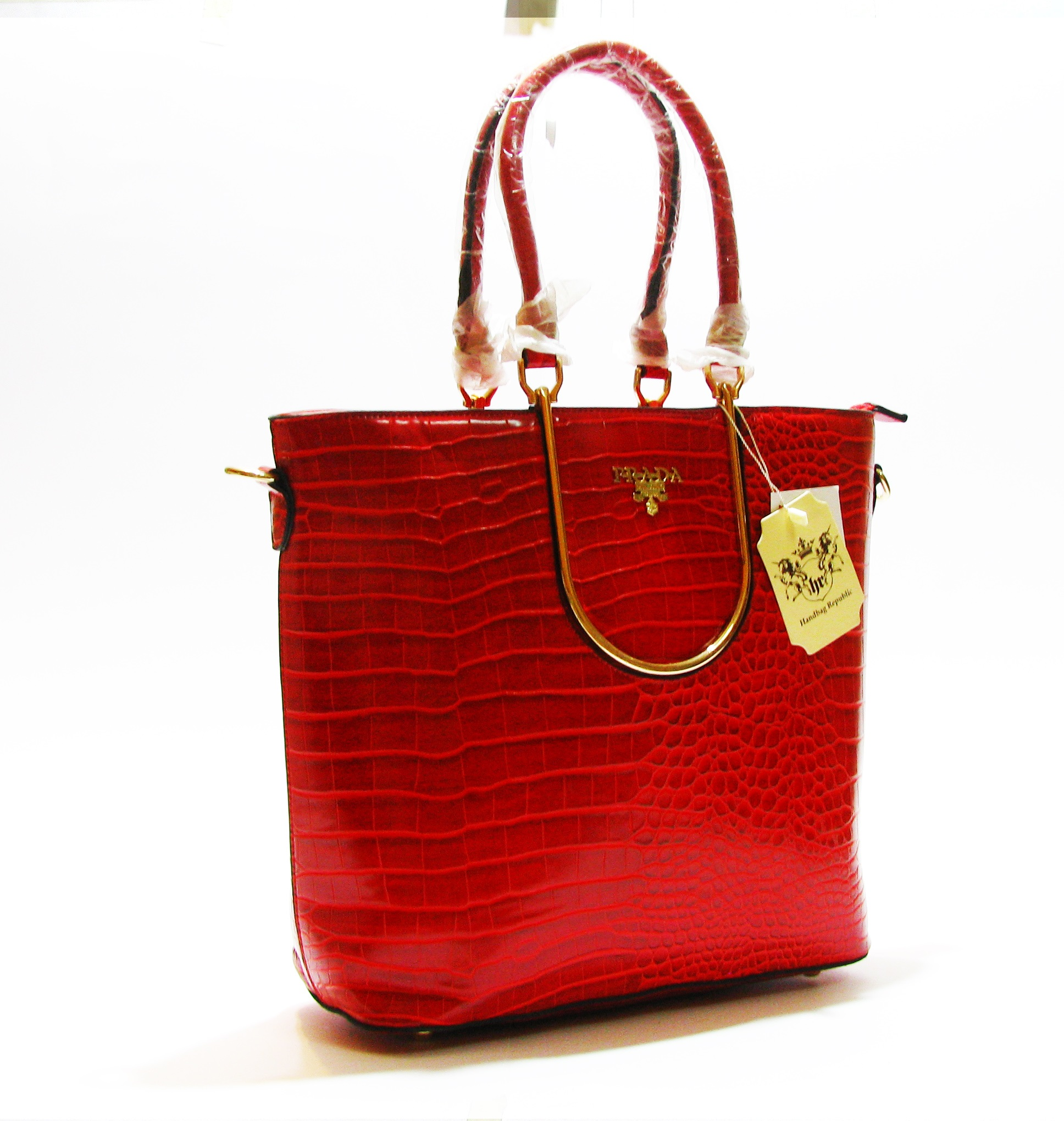 028158da4e82 Prada Red Alligator Leather Tote - Over Stock Pakistan