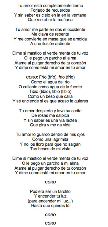 frio frio lyrics