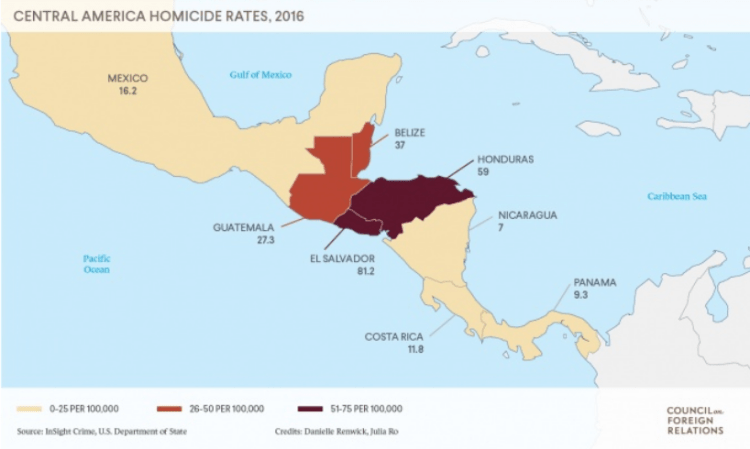 CFR Northern Triangle Homicide Rates 2016