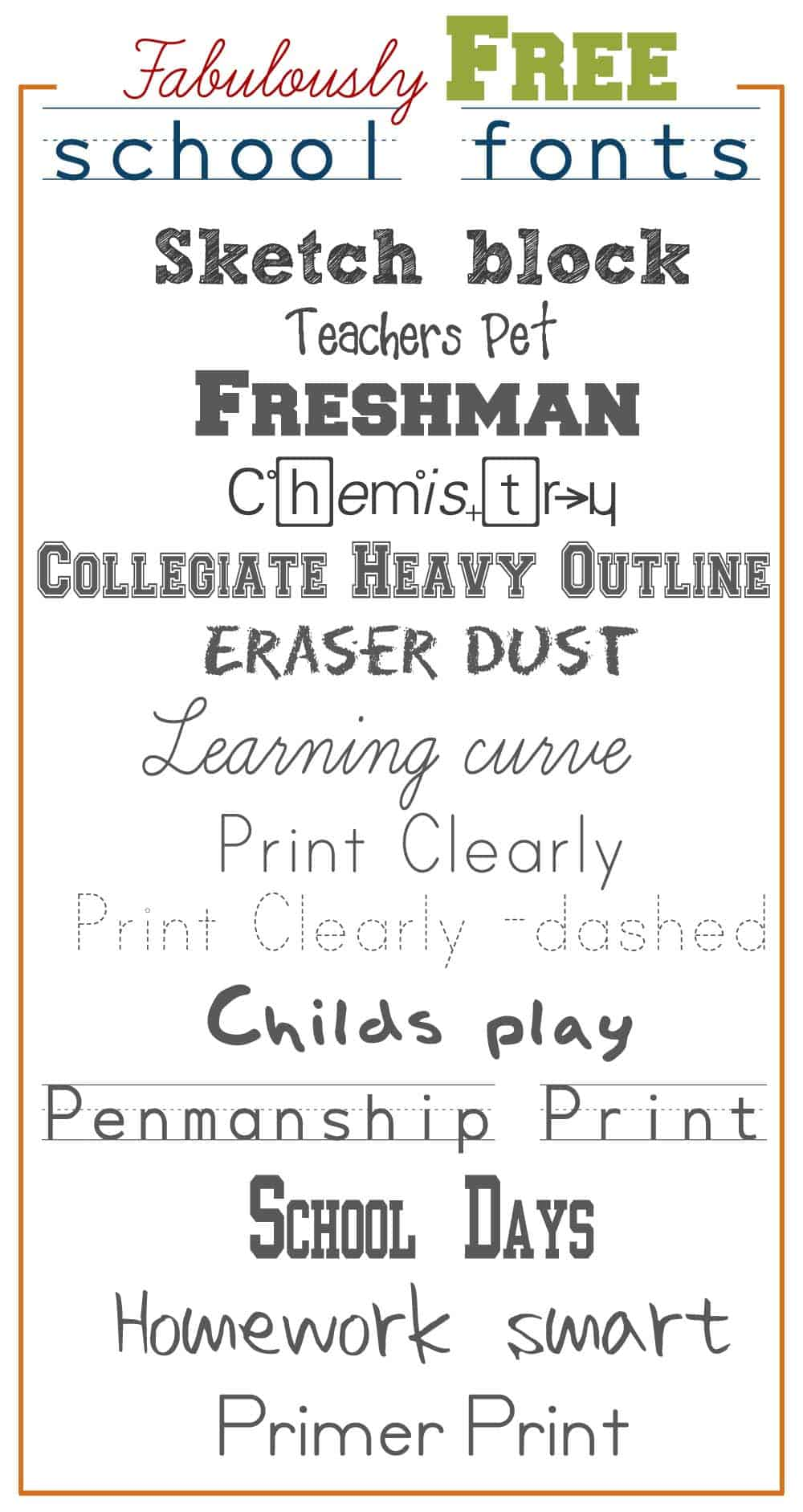 Download Fabulously Free School Fonts