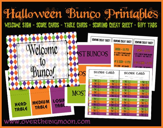 graphic about Cute Bunco Score Sheets Printable named Halloween Bunco Printables
