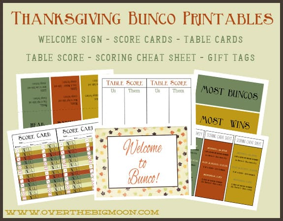 image relating to Printable Bunco Table Tally Sheets titled Thanksgiving Bunco Printables