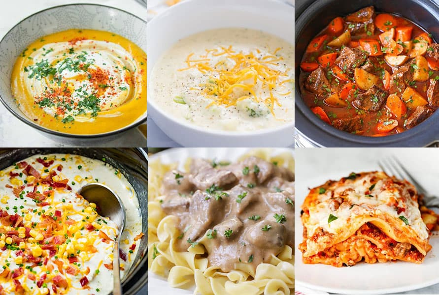 Collage of Fall Crockpot Recipes perfect for the cooler weather!