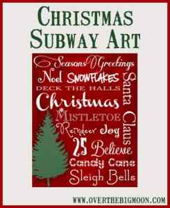 Christmas Subway Printable