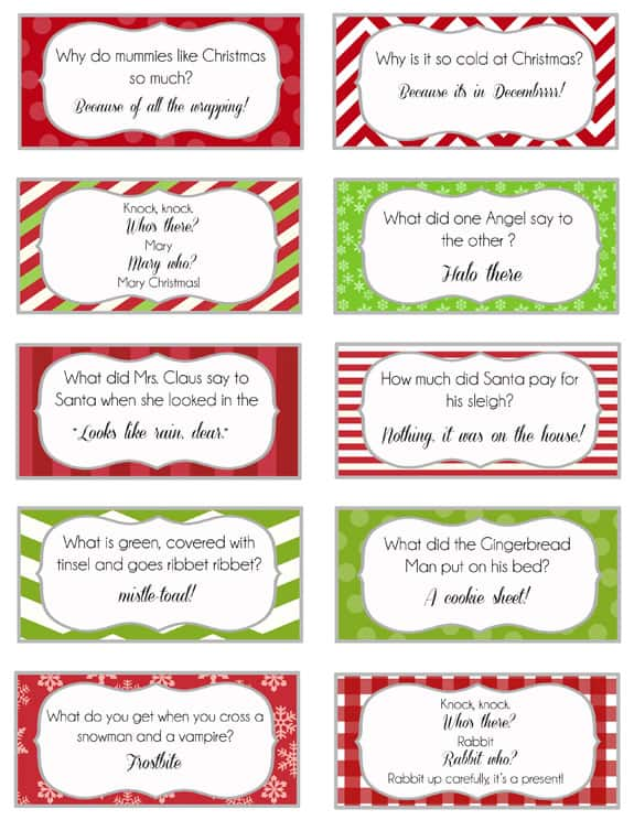 Printable Christmas Joke Cards that your Elf can bring or you can put in your kids lunch boxes!