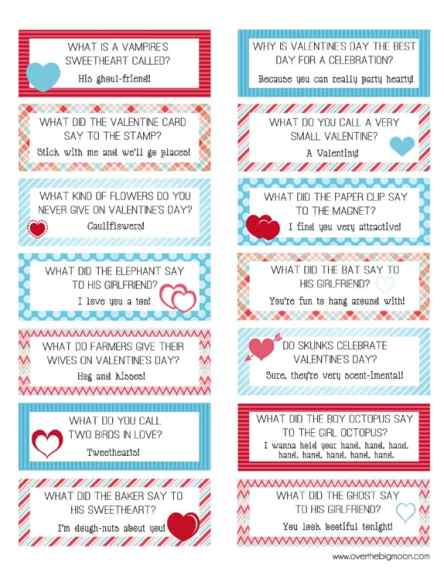 Valenitne Lunch box Joke cards