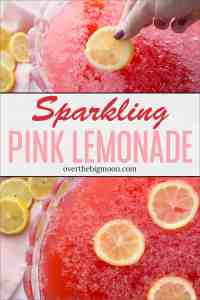 This delicious and sweet Pink Lemonade Sparkling Fruit Punch recipe is perfect for family gatherings, parties, baby showers and more!From overthebigmoon.com!