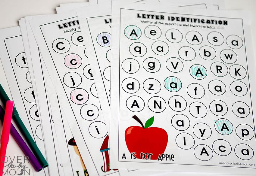 Letter Recognition Worksheets - from overthebigmoon.com!