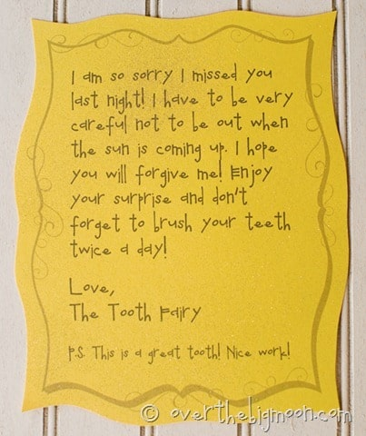 photo about Tooth Fairy Letter Printable referred to as Forgettful teeth fairy free of charge printable be aware