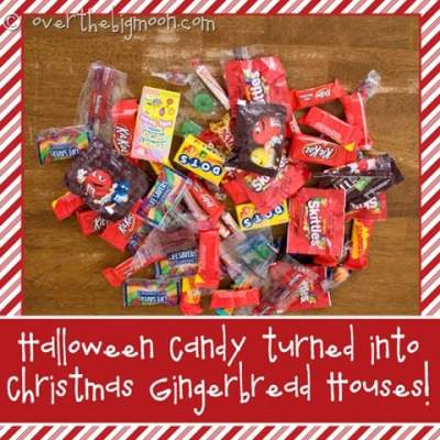 Halloween Candy turned into Gingerbread Houses