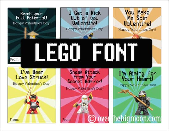 Lego Font Ninjago Valentine's Printable | overthebigmoon.com