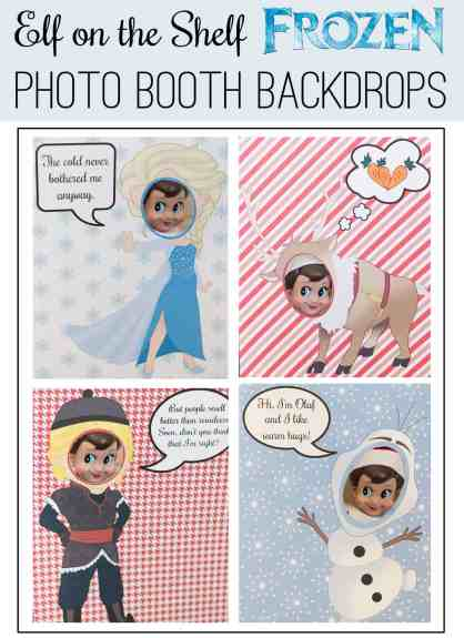 Frozen Elf on the Shelf Photo Booth Backdrops