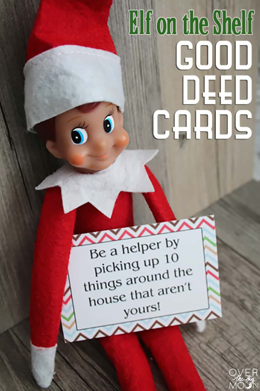 Looking for a way to simplify your Elf on the Shelf? These Elf on the Shelf Printable Good Deed Cards are perfect to help bring the Christmas cheer! From www.overthebigmoon.com!