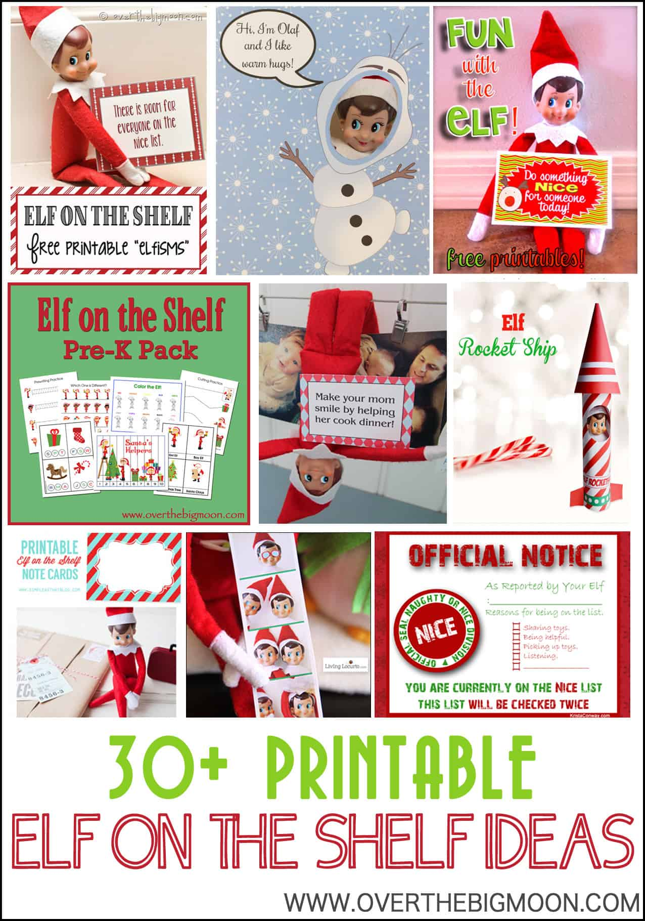 photograph about Elf on the Shelf Kissing Booth Free Printable named 30+ Printable Elf upon the Shelf Recommendations Above The Huge Moon
