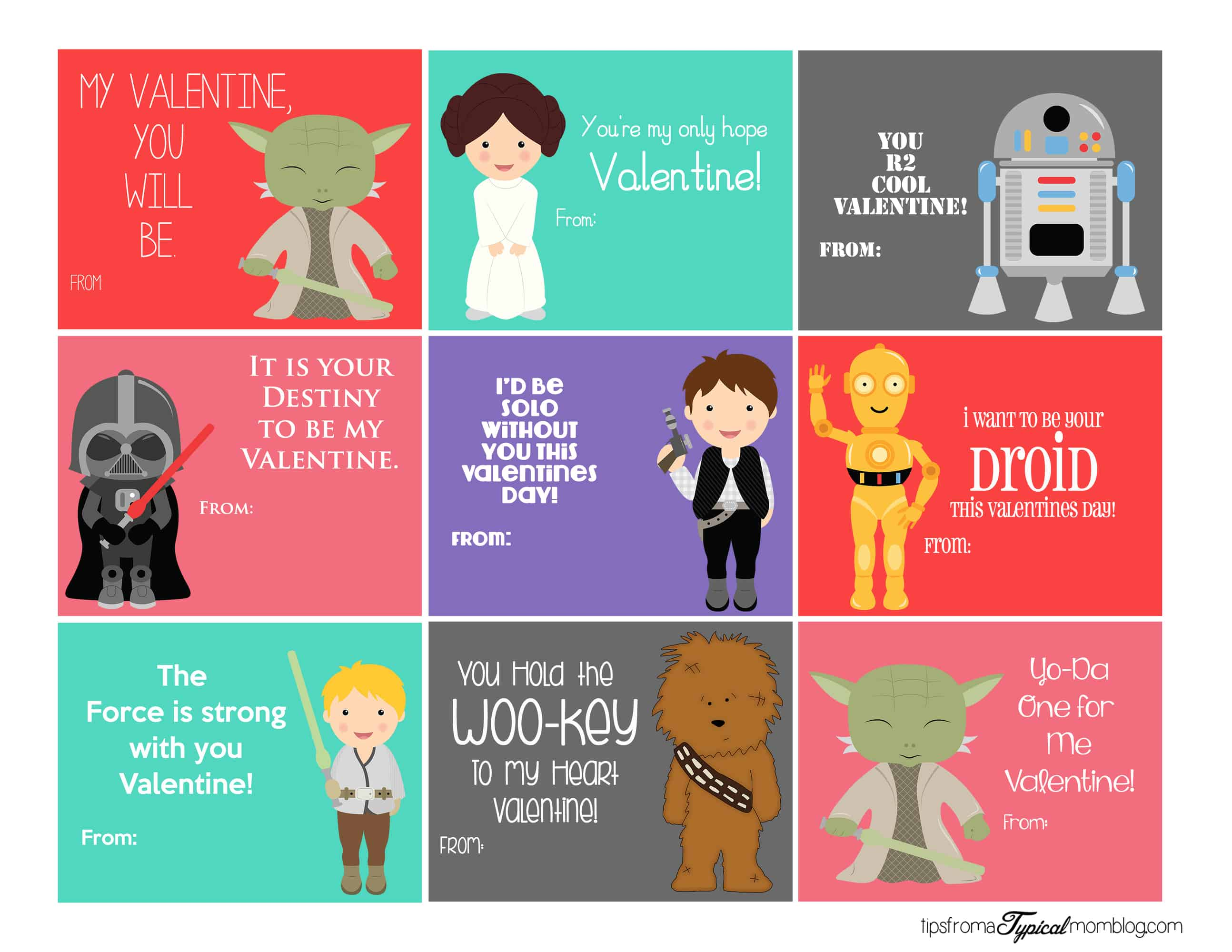 Stars Wars Printable Valentines
