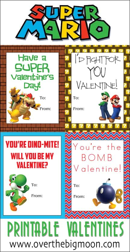 Super Mario Printable Valentine's + Candy Bar Wrapper Option! From overthebigmoon.com!