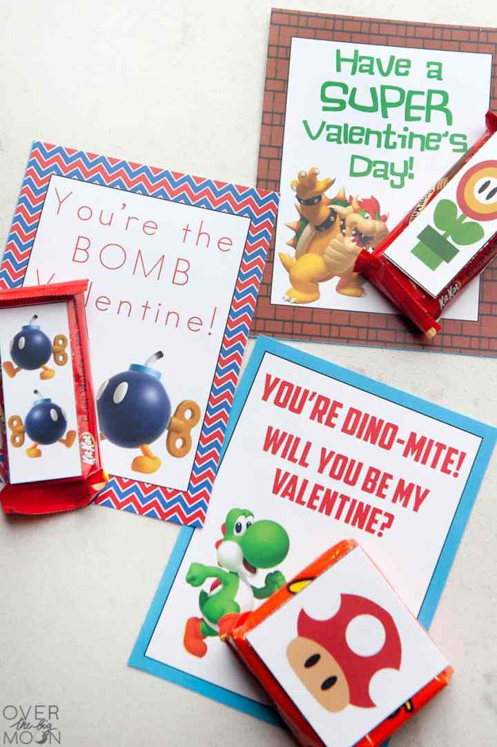 Printable Super Mario Valentine's Handouts - 4 designs available + mini candy bar wrappers! From overthebigmoon.com!