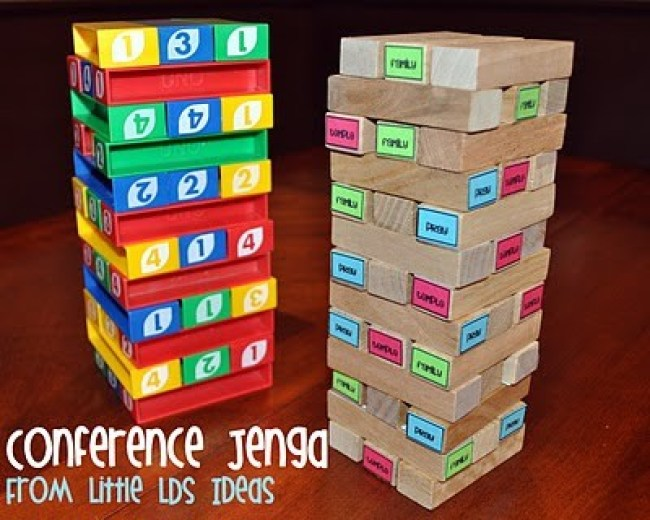 General Conference Jenga + lots of other fun General Conference Activities for Kids from overthebigmoon.com!