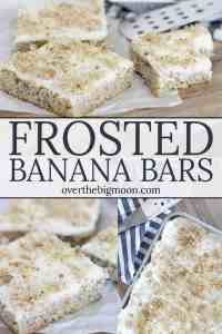 Frosted Banana Bars - the perfect way to use up those bananas before they go bad! The cream cheese frosting is really the star of this recipe! From overthebigmoon.com!